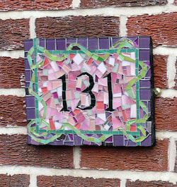 mosaic house number, pink and purple