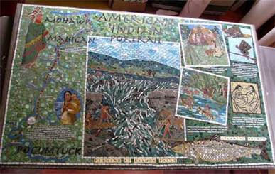 American Indian mosaic in Shelburne Falls, MA