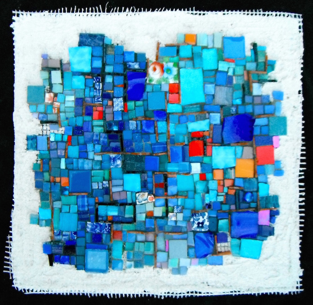 abstract mosaic in blues and orange