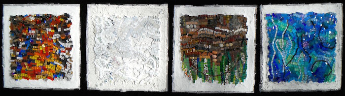 abstract mosaics of the elements: fire, air, earth and water
