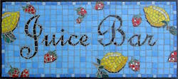 Mosaic sign for a Juice Bar on Nantucket.