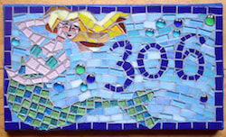 mosaic mermaid house number sign