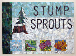 A mosaic sign for the beloved STUMP SPROUTS CROSS COUNTRY SKI AREA in Hawley, MA