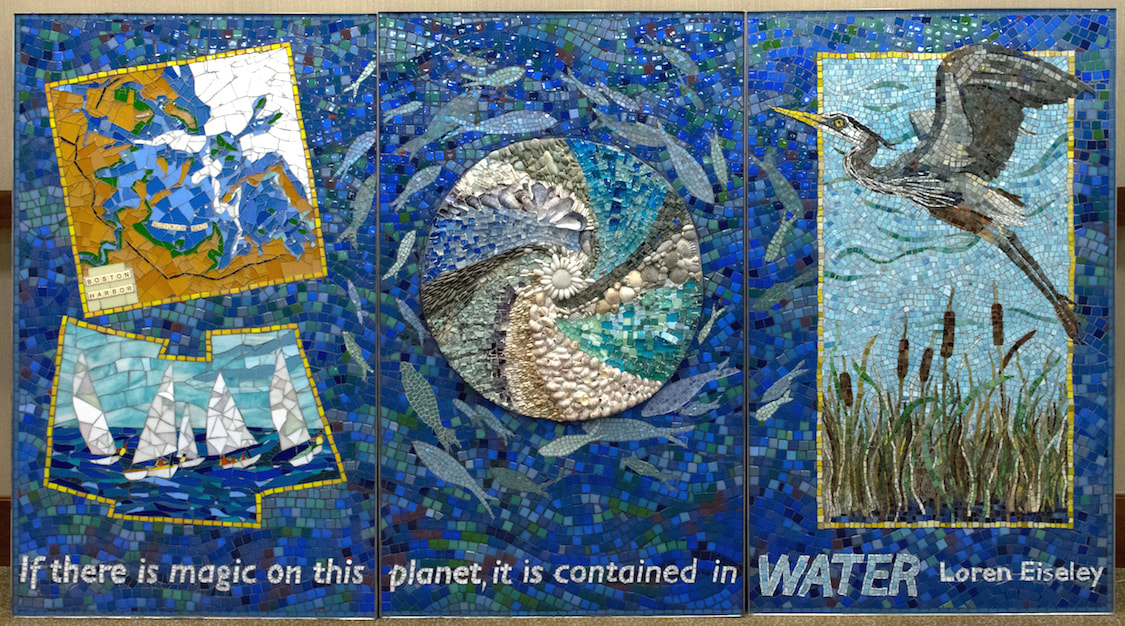 mosaic mural of water theme